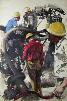 """Richard F. Williams """"Oil Workers"""" (Dick Williams) painting (vintage art, illustration, illustrator)"""