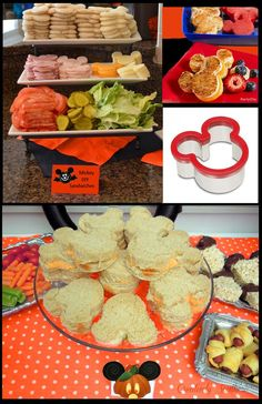 Look at all you can create with just a simple MIckey Mouse cookie cutter! Look at all you can create with just a simple MIckey Mouse cookie cutter! Festa Mickey Baby, Theme Mickey, Fiesta Mickey Mouse, Mickey Y Minnie, Mickey Mouse Parties, Mickey Party, Mickey Mouse Food, Mickey Halloween Party, Disney Halloween