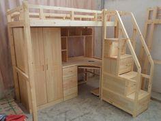 Специальный сочетание твердого дерева кровати детской мебели ванной комбинации детской двухъярусной кровати кровать-чердак с письменным столом постели