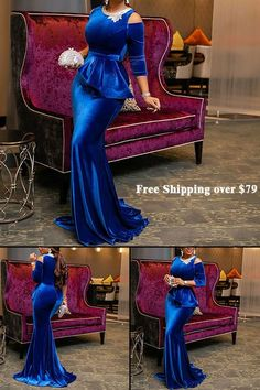 Floor-Length Cold Shoulder Plain Bodycon Party Dres s African Lace Styles, African Lace Dresses, Latest African Fashion Dresses, African Wedding Attire, African Attire, Bodycon Dress Parties, Party Dress, Dinner Gowns, African Traditional Dresses