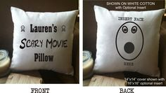 personalized scary movie throw pillow cover by MinnieandMaude on Etsy