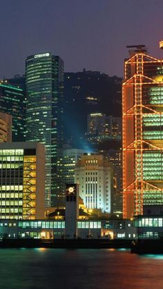 China, Hong Kong, Night view, Skyscraper, Coast, City