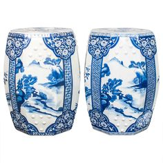 Pair of Blue and White Porcelain Garden Seats | From a unique collection of antique and modern ceramics at https://www.1stdibs.com/furniture/asian-art-furniture/ceramics/