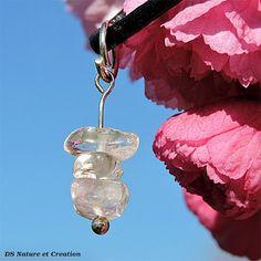 Clear crystal pendant handmade jewelry by DSNatureetCreation www.etsy.com/listing/232092356/silver-bracelet-sunstone-handmade