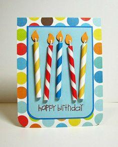 Karte Geburtstag mit selbst gestalteten kerzen