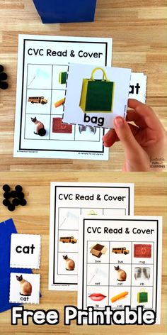 Practice CVC words and short vowel sounds with this free printable read and cover CVC word game for kindergarten and first grade. Reading Games For Kids, Word Games For Kids, Education Games For Kids, Tricky Word Games, Music Education, Health Education, Physical Education, Kindergarten Learning, Preschool Learning Activities