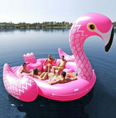 Fits Seven People Ginormous Flamingo Giant Unicorn Inflatable Boat Pool Party Float Air Mattress Swimming Ring Toys boia Inflatable Island, Inflatable Float, Giant Inflatable, Flamingo Rosa, Pink Flamingos, Flamingo Party, White Flamingo, Flamingo Bird, Summer Parties