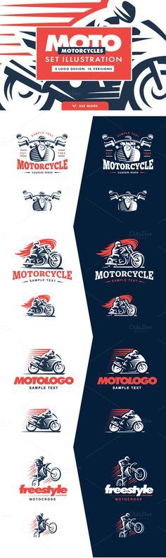 Motorcycle logo set. by SODESIGN on @creativemarket