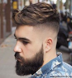 """Popular Men's Hairstyles expect a➤ lot of """"short sides, long top"""" hairstyles which combine ➤a low or high fade with texturized ➤hair on top. Mid Fade Haircut, Crop Haircut, Textured Haircut, Textured Hairstyles, Beard Styles For Men, Hair And Beard Styles, Short Hair Styles, Mens Hairstyles With Beard, Top Hairstyles"""