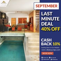 LAST MINUTE DEAL 40% OFF  .  GET MORE 10% CASH BACK for all our special promotions .  Valid only for Direct Booking at Our Official Website  .  www.villakayuraja.com .  #seminyakvilla #seminyakbalivillas #earlybird #lastminute #boxing #deal #honeymooninbali #balivilla #bali #cashbackpromotion #balipromotion #balihoteliers #holidayinbali #luxuryvilla #privatepoolvilla #travelling #villakayuraja #august #september #balivilla #cashback #discount
