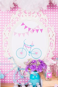 Bicycle themed birthday party Bicycle Birthday Parties, Bicycle Party, Birthday Celebration, Birthday Party Themes, Girl Birthday, Sams Club Cupcakes, Painted Mason Jars, Party Printables, Theme Ideas