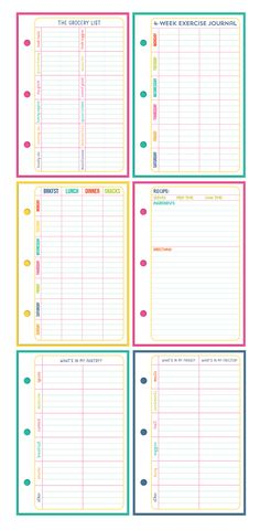 These sheets will help you stay on top of your meals, keep track of what food you have in the house, make grocery lists & store your favorite recipes. It also comes with a 4-week exercise journal, so that you can track your progress.