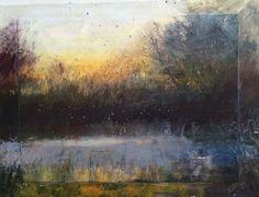 """Pond at Daybreak"", oil & paper on board"