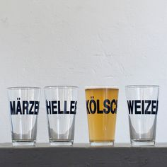 German beers  4 hand printed pint glasses  dark charcoal  by vital, $42.00