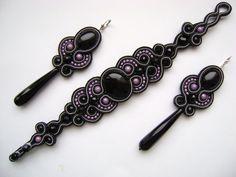 Soutache                                                       … Soutache Bracelet, Soutache Jewelry, Beaded Jewelry, Handmade Necklaces, Handmade Jewelry, Soutache Tutorial, Passementerie, Polymer Clay Charms, How To Make Beads
