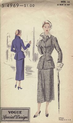 Vogue Special Design 1940s Sewing Pattern Woman's Suit Blazer Petticoat Slim Skirt Movie Star Fashion Bust 32