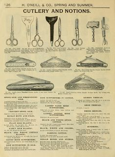 """Vintage illustration of cutlery and notions from: """"Spring & summer fashion catalogue."""" by H. O'Neill & Co, New York, 1898. This image is in the public domain."""