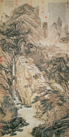 "Shen Zhou, Lofty Mount Lu, Ming dynasty, 1467. Hanging scroll, ink ank color on paper, 6' 4 1/4"" x 3' 2 5/8"""