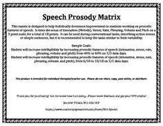 This matrix is designed to help holistically document improvement in students working on prosodic features of speech. It rates the areas of Intonation (Melody), Stress, Rate, Phrasing, Volume and Pitch on a 3 point scale, for a total of 18 points. It can be used during conversational tasks, describing action scenes or simple sentences, but it is recommended to keep the tasks similar to limit variability.