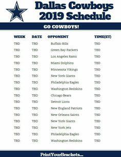 Printable 2018 2019 Dallas Cowboys Schedule Dallas