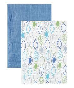 Look at this #zulilyfind! 46'' x 46'' Blue Leaf Blanket Set by Hudson Baby #zulilyfinds