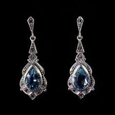 Marcasite Blue Topaz Drop Earrings (EM828BT)   Search Results for: Blue topaz   Jewellery   Alexandra May