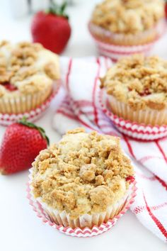 Strawberry Cheesecake Muffin Recipe on twopeasandtheirpod.com Strawberry muffins with a sweet cheesecake filling and graham cracker streusel topping. These muffins are delightful!