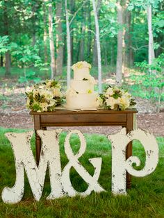 The weathered paint on these loopy letters gives them an antique look, making them a great fit for a style affair {Cyn Kain Photography} Free Wedding, Diy Wedding, Rustic Wedding, Wedding Flowers, Wedding Ideas, Wedding Stuff, Garden Wedding, Wedding Cakes, Wedding Signage