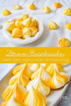 Zitronen-Baiserkuesschen oder Lemon Meringue sind eine tolle Resteverwertung für übriggebliebenes Eiweiß. Perfekt also für vor oder nach Ostern und generell. Auch toll als kleines Geschenk oder Beilage zum Kaffee. #eiweiß #eggwhite #baiser #färben #colour #zitrone #lemon #thermomix