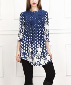 Look what I found on #zulily! Blue & White Floral Dot Notch Neck Tunic #zulilyfinds