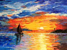 Seascapes at sunset are so romantic, so inspiring, so relaxing! These warm and vibrant colors remind us of beauty of nature, of life.  This painting is done with palette knife, on canvas hard cardboard. So, it is highly and nicely textured. It is ready to be framed.
