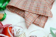 "Pocket square plaid beige orange red linen 15"""
