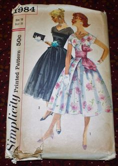 1950's Original Vintage Sewing Pattern Dress Bust by SewDecadesAgo