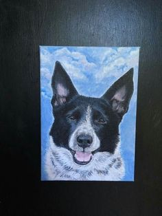 House of Paws Pet Portraits Charlie's portrait is finished! It was painted by House of Paws Pet Portraits and I couldn't ask for a more amazing likeness.  The original photo she worked from had green grass in the background, but I like the clouds because it looks as if he is gazing down at me from the Rainbow Bridge :)