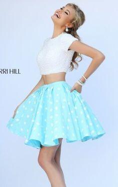 Polka Dot Short Sleeved Dress by Sherri Hill 32247