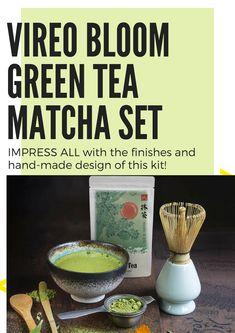 50g Vireo Bloom Prämie Grade Tee Kit mit Bambusschaufel, Löffel, Schneebesen mit Halter, Matcha Servierschüssel Chawan in umweltfreundlicher Verpackung