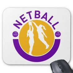 """Netball player shooting blocking the shot mouse pad. Customizable mouse pad with an illustration of a female netball player shooting with another player blocking shot set inside a circle with the word """"netball."""" #netball #volleyball #mousepad"""