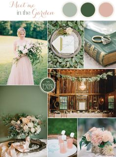 Forest Green and Pink Summer Wedding Palette