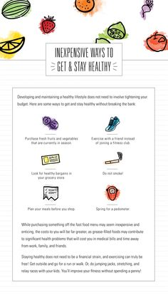 Inexpensive ways to get and stay healthy.