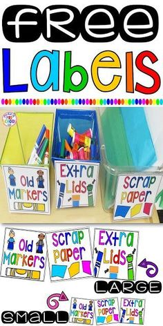 FREE Labels (Extra Lids, Paper Scraps, & Old Markers) to keep your classroom organized. Extra lids is my favorite. NO more looking around for lids, NO wasting instruction time!
