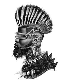 With his portraits, Yung Yemi explores intersections of Blackness through a pre, modern, and postcolonial lens. African Masks, African Art, Futurism Art, Art Afro, Punk Poster, Pelo Natural, Natural Hair, Kairo, Black Artwork