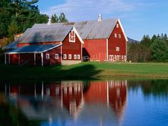 Twin Barns at Sunset, Vermont ~