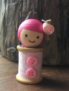 Items similar to Rose Bud Wooden Peg Doll on Etsy Wooden Spool Crafts, Wooden Spools, Wooden Pegs, Wood Peg Dolls, Clothespin Dolls, Fairy Crafts, Doll Crafts, Cotton Reel Craft, Sleepover Crafts
