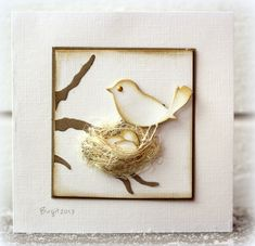 By Birgit Edblom (Biggan at Splitcoaststampers). She may have handcut her bird, but a punched bird would work too. Love the nest.