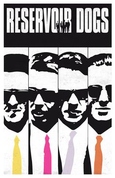 "Reservoir Dogs Limited Black and White Movie Poster- Quentin Tarantino-  11""x17"" Mr. Blonde, Mr. Pink, Mr. White, Mr. Orange"