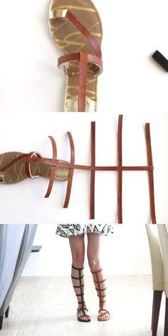 DIY Gladiator Sandals | Kristi Murphy | Learn to make black or camel colored | http://www.kristimurphy.com/blog/diy-gladiator-sandals