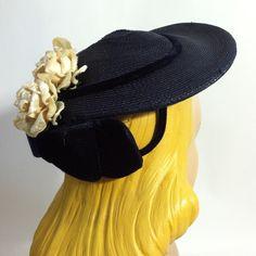 Snowy White Velvet Rose Trimmed Blue Sisal Clip Hat, circa 1940s, via Dorothea's Closet Vintage.