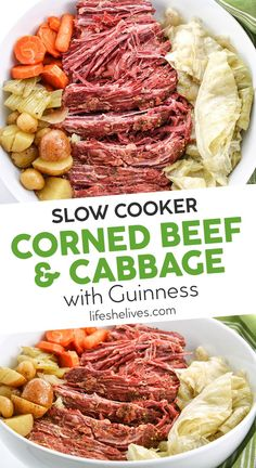 Slow Cooker Corned Beef and Cabbage- Perfect for St. patricks day dinner cabbage Slow Cooker Corned Beef and Cabbage Cornbeef And Cabbage Crockpot, Cabbage Slow Cooker, Crockpot Cabbage Recipes, Corned Beef Recipes, Corn Beef And Cabbage, Crock Pot Corned Beef And Cabbage Recipe, Roast Recipes, Cornbeef Brisket Crockpot, Sauteed Cabbage