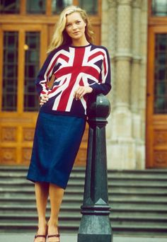 Kate Moss in that Union Jack sweater (90s Beauty Editorial)