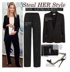 """Rosie Huntington-Whiteley"" by swweetalexutza ❤ liked on Polyvore featuring Yves Saint Laurent, Whiteley, Jimmy Choo, Stealherstyle and RosieHuntingtonWhiteley"